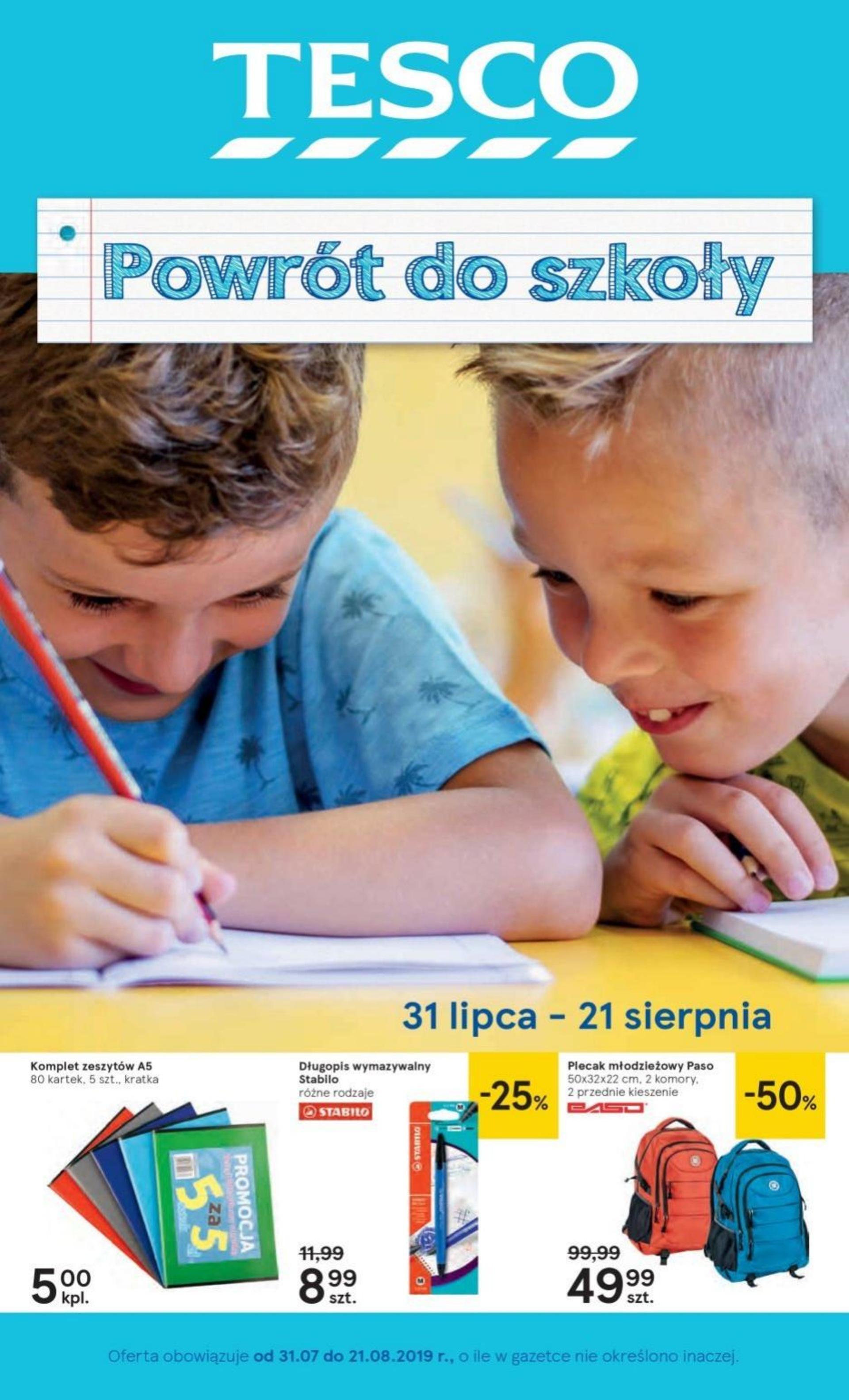 Gazetka promocyjna Tesco do 21/08/2019 str.1
