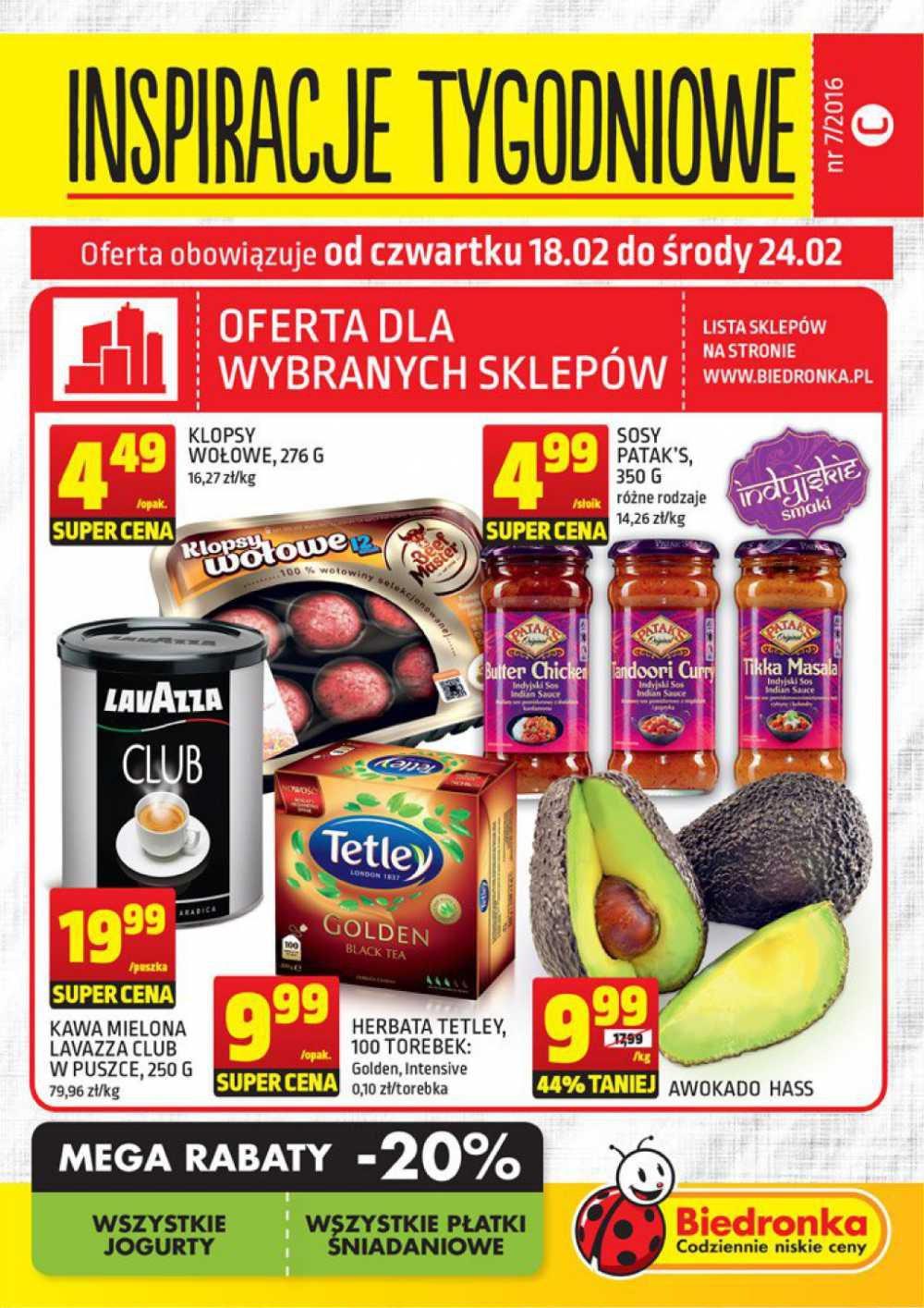 Gazetka promocyjna Biedronka do 24/02/2016 str.0