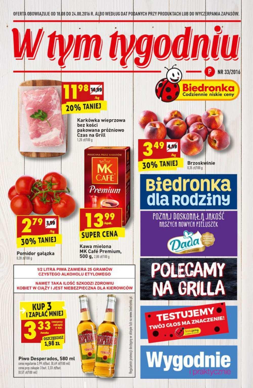 Gazetka promocyjna Biedronka do 24/08/2016 str.0