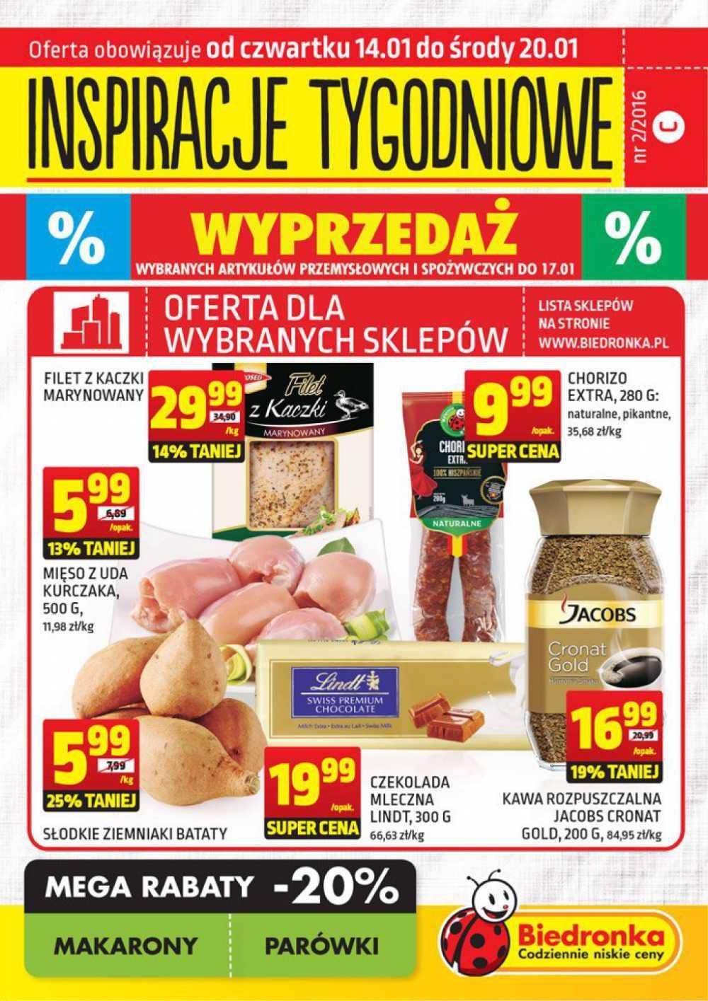 Gazetka promocyjna Biedronka do 20/01/2016 str.0