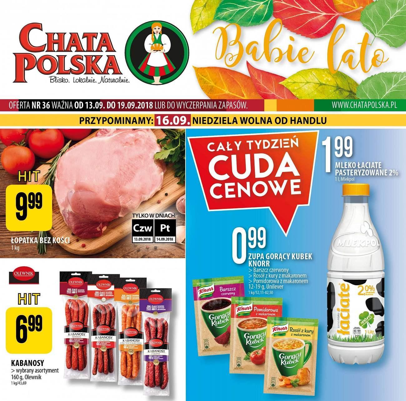 Gazetka promocyjna Chata Polska do 19/09/2018 str.0