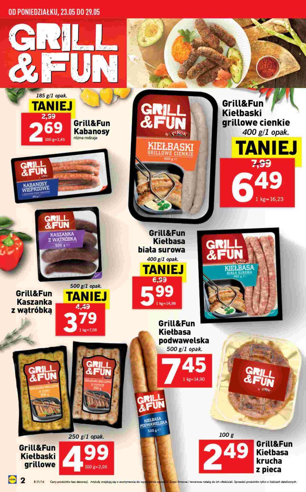 """gazetka promocyjna i reklamowa lidl, """"grill & fun"""", od 23/05/2016 do"""