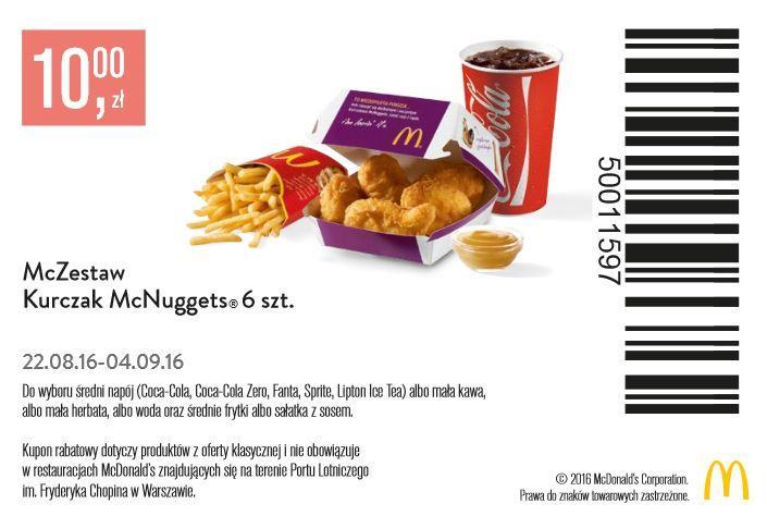 Gazetka promocyjna McDonalds do 04/09/2016 str.0
