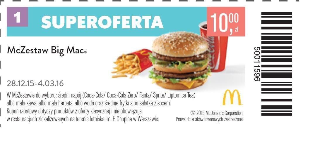Gazetka promocyjna McDonalds do 04/03/2016 str.0