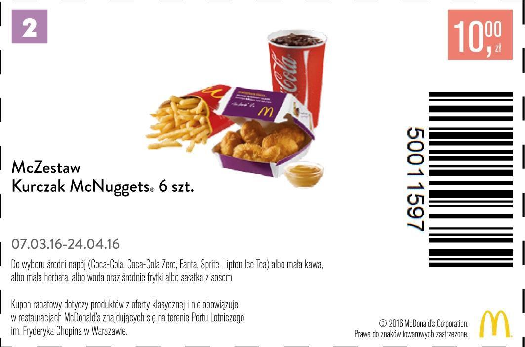 Gazetka promocyjna McDonalds do 24/04/2016 str.0