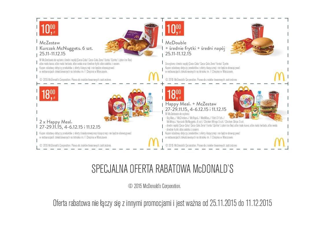 Gazetka promocyjna McDonalds do 11/12/2015 str.0