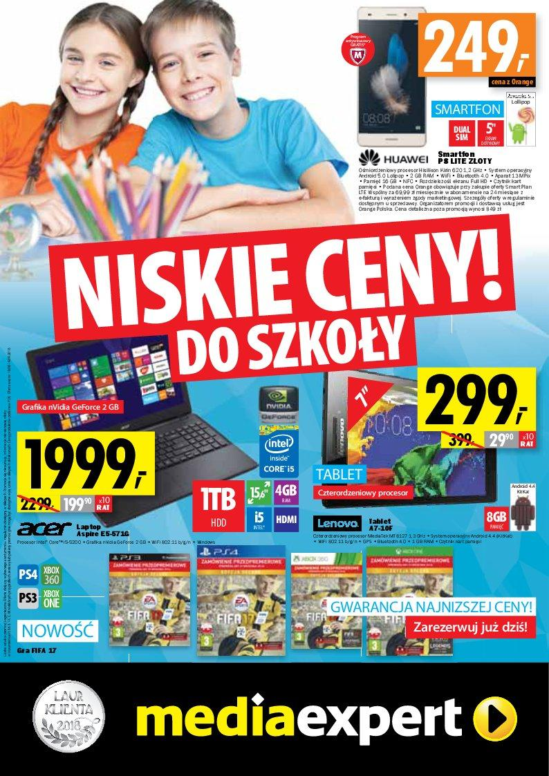 Gazetka promocyjna Media Expert do 14/09/2016 str.0