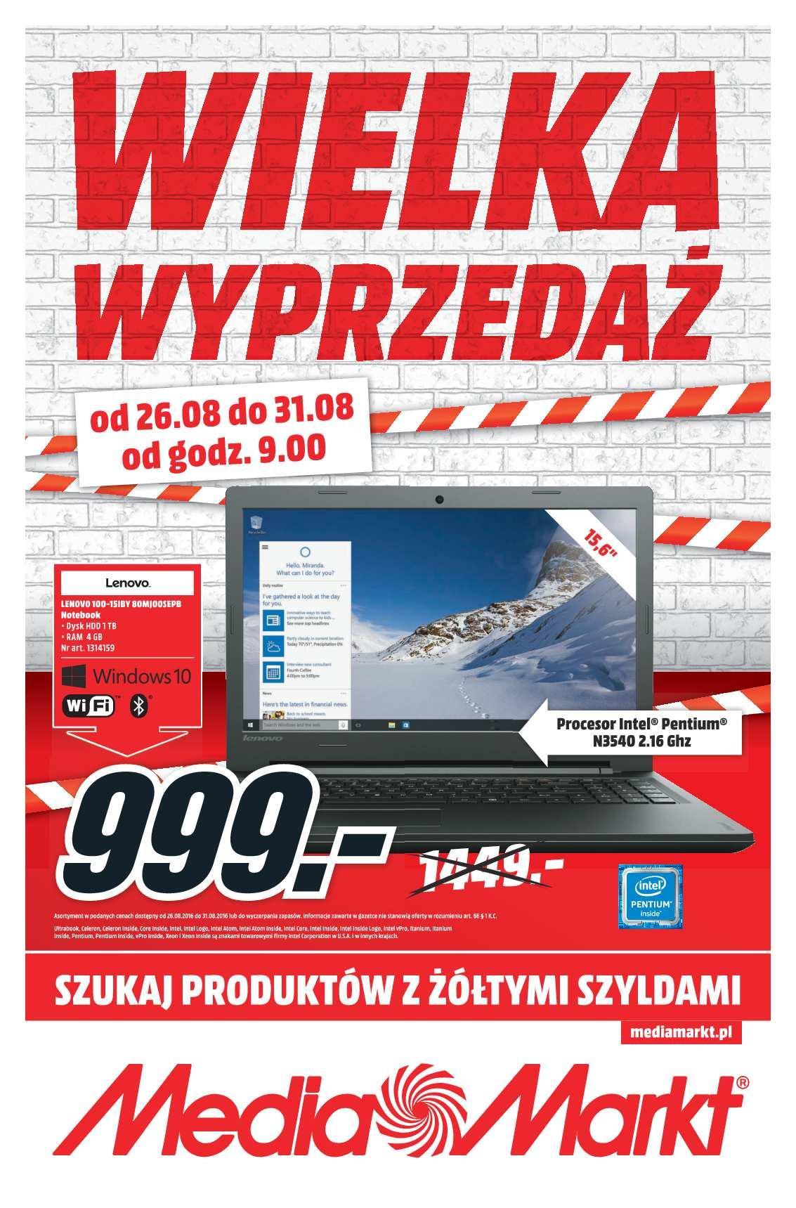 Gazetka promocyjna Media Markt do 31/08/2016 str.0