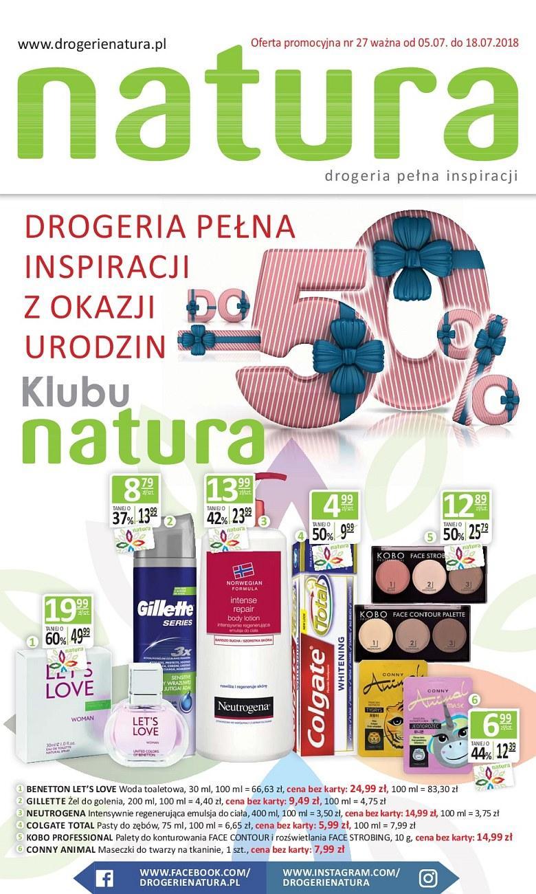 Gazetka promocyjna Drogerie Natura do 18/07/2018 str.1
