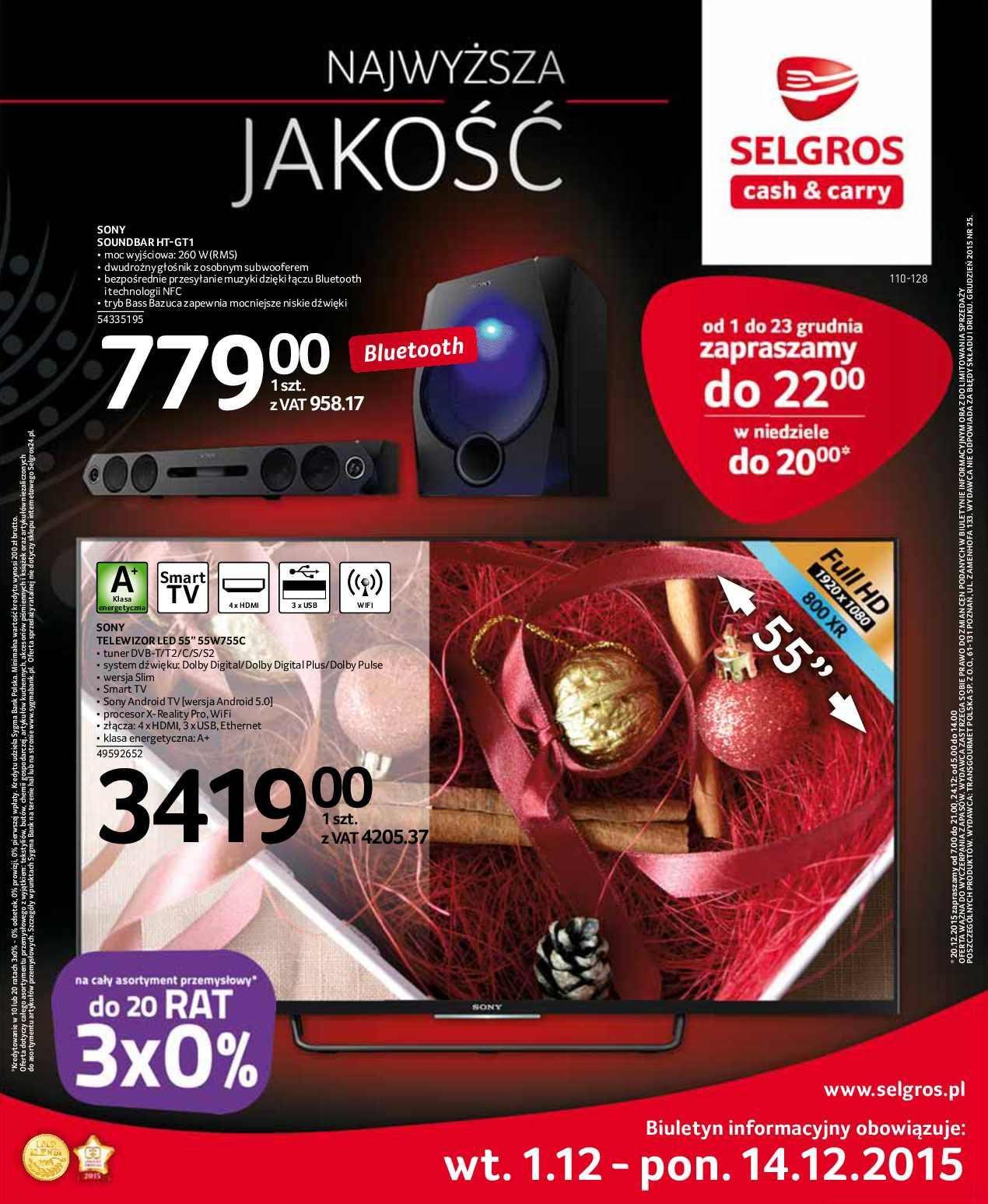 Gazetka promocyjna Selgros do 14/12/2015 str.0