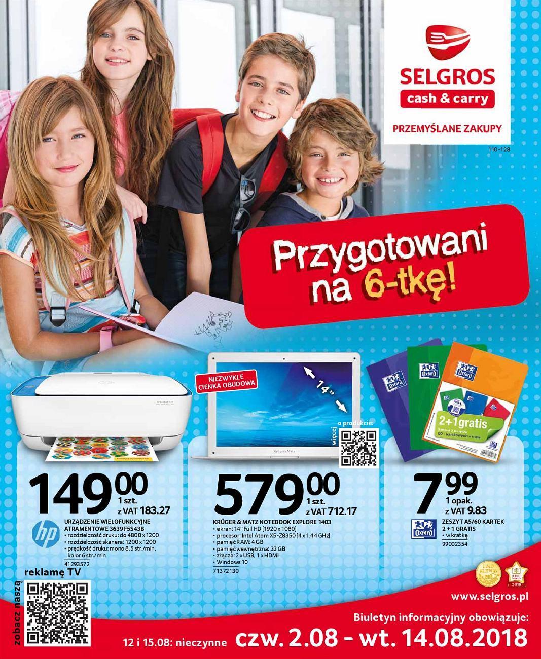 Gazetka promocyjna Selgros do 14/08/2018 str.0