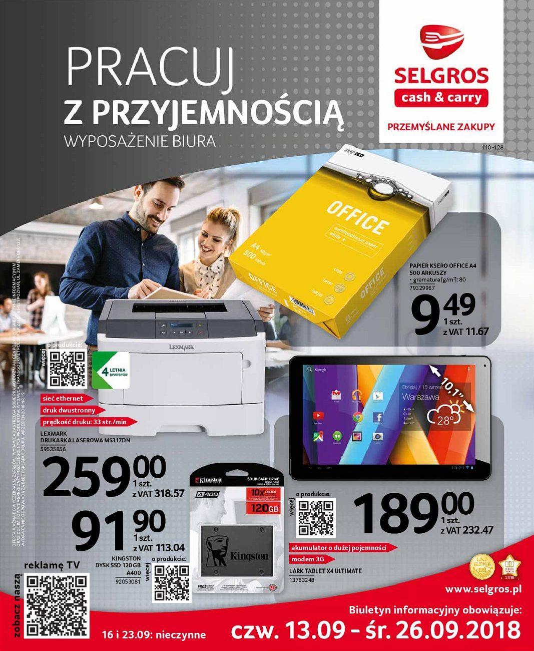 Gazetka promocyjna Selgros do 26/09/2018 str.0
